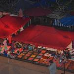 Night market view from balcony (goat room)