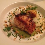 cod fish with lobster sausage and cream of pea sauce