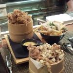 Popcorn Chicken in front, squid behind left and fries special behind right