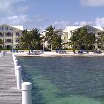 Looking at Pelican Reef Villas from the end of the pier.