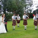 pics on the grounds with local pipe band