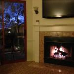 Room 207 - Cozzy fireplace and a view to the bay....