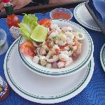 Seafood Ceviche by the pool