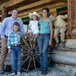 Our family in front of the lodge