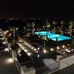 Beautiful night lit pool view
