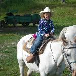 """""""Rough rider"""" on her horse"""