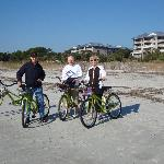 Bike riding on Marriott Grande Ocean Beach, property in background