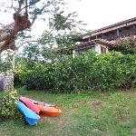 View of the Papaya Bure, with the outdoor shower on the left and house kayaks in the foreground