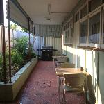 Communal BBQ Area and Front of Motel Rooms