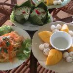 Fish amok, green mango salad & sticky rice/mango/coconut cream
