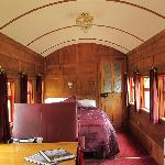 Interior view of renovated First Class train carriage