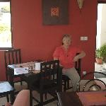 Denise waiting for breakfast.