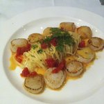 Scallops burnt butter sauce angel hair pasta - awesome