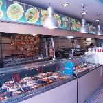 the wonderfull front side of the restaurant , full with amazing barbeques and daily fresh food!!