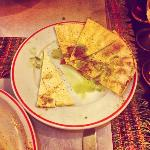pita bread with pesto and spices