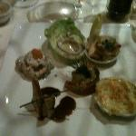five different small starters. delicious