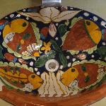 Each sink was a specialty handpainted bowl. Both different, both beautiful.
