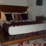 Habitacion con petalos de rosa para luna de miel.