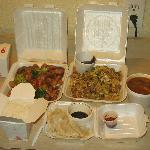 hot and sour soup, srteamed dumplings, moo shoo pork, and dragon and tiger(spicy chicken, shrimp