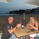 enjoying a meal by the seafront