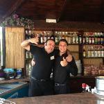 Alvaro and Luca in the pool bar