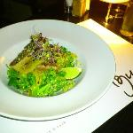 Tuna with salad, and honey - ginger dressing