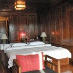 Wood-panelled bedroom