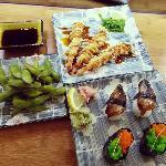 Edamame, prawn tempura and unagi kabayaki