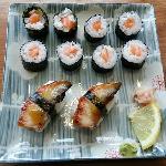 Salmon hoso maki and unagi kabayaki