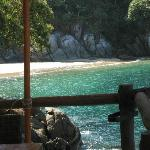 Los Colomitos Beach.... view from our table. Ahhhh.... the water...... it's sparkling!