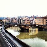 This is the view from the hotel's balcony. The Arno River and the Ponte vecchio.