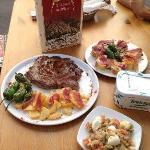 Huevos de Codorniz con Jamon, Ensaladilla y Chuleton de Ternera