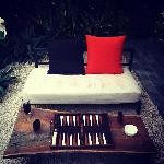 backgammon on the patio
