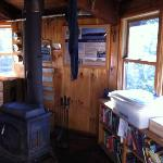 The wood burning stove and the library