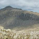Bowfell from the Crinkles. Three Tarns bottom right.