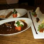2 dessert choices and a cheese plate.