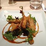 Tempura shrimp and veggies.