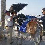 Georgi and helper loading luggage onto donkey