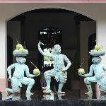 statues in front of reception on the way out