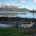 ferry departing Brodick with Goat Fell in background