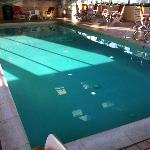 this pool water was clear as a whistle & that's a plus for an indoor pool
