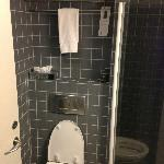 Small, but good bathroom, shower at right, heated floors!