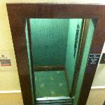 The lift.. with very fast closing doors