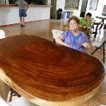My wife at a table in the Congo Trail Center