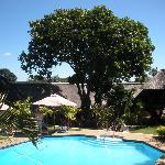 Il giardino tropicale con camere e piscina