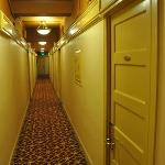 The hallway, which shows the hotel is a bit on the old side, but everything seems functional.
