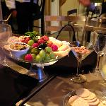 Beautiful fruit and cheese plate ordered as a surprise by our husbands and prepared by the staff