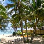 The beachside villas face onto one of the better soft sand beaches on Rarotonga