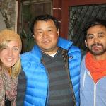 us with the amazing owner Chewang Sherpa in the reception area.