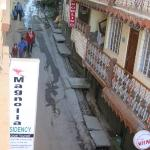 Another view down on the street from the roof top...